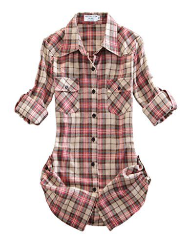 Match Damen Langarmhemd Flanell Karierte Bluse Plaid Shirt #B003(2021 Checks#9,Large(Fit 38''-40''))