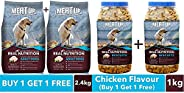 Meat Up Adult Dog Food, 1.2 kg (Buy 1 Get 1 Free) & Meat Up Chicken Flavour, Real Chicken Biscuit, Dog Tre