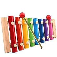 Rcool Madera de Pino Xilófono 8-Note 3mm Colorido Placa de Aluminio C Tecla Percusión Toddle Juguetes Musicales para Ninos
