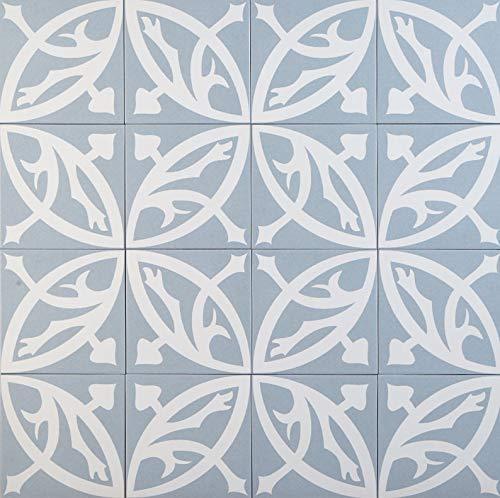 Mediterrane Keramikfliesen orientalisch Emrana Blau 20 x 20 cm 1 qm glasiertes Feinsteinzeug in Zementoptik | Bodenfliesen & Wandfliesen im Bad Küchenrückwand | schöne Küche Flur & Badezimmer