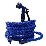 75FT Expandable Flexible Garden Magic Water Hose 8 Pattern Spray+ Gun-Blue