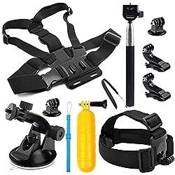 SHOOT Accessories Pack 9 en 1 Voyage Kit Selfie Bâton,Bâton Flottantde Plongée,Montage Ceinture,Ceinture Poitrine pour GoPro Hero 7 Noir Argent Blanc/6/5/4/3 +/3/Hero(2018)/Fusion Crosstour Campark