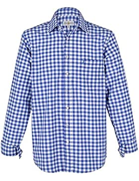 Herren Almsach Trachtenhemd blau-weiss karo langarm von Gr. S-XXXL - Der Klassiker für alle Oktoberfeste und Volksfeste...