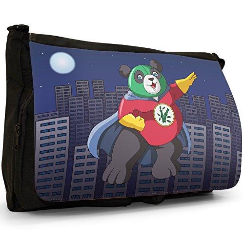 Superhero Action Hero animali grande borsa a tracolla Messenger Tela Nera, scuola/Borsa Per Laptop Kung Fu Bamboo Panda Hero