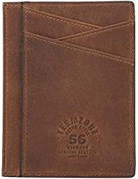 702d063483 fermasoldi uomo pelle vitello dauphine marrone calamita porta carte di  credito in pelle magnete portafoglio uomo