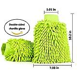 Mture Wasserdicht Mikrofaser Waschhandschuh, (2 Pack) weicher Korallen Autowaschhandschuh Chenille Waschhandschuh Polierer Auto Motorrad 26 x 19 cm Grün - 6