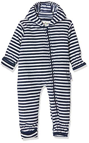 Playshoes Unisex Baby Schneeanzug Fleece-Overall Maritim, Blau (Marine/weiß 171), 74