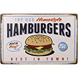 OULII Best in Town Hamburgers Retro Vintage Tin Sign Poster Style Wall Art Pub Bar Decor