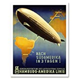 Wee Blue Coo LTD Travel Tourism Airship Zeppelin Germany South America Art Print Framed Poster Wall Decor Kunstdruck Poster Wand-Dekor-12X16 Zoll