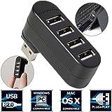 Mini-Concentrador USB 3.0 giratorio de aluminio Sabrent Premium con 4 puertos [90°/180° grados de rotación] (hb-umn4)