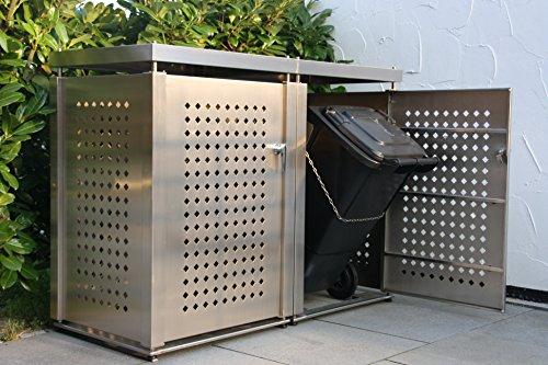 Mülltonnenbox Edelstahl für 2 Mülltonnen (240 l) - 2