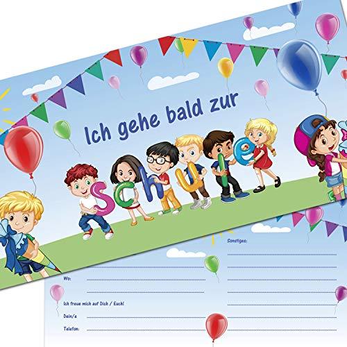 KREATIVES HERZ - Einladungskarten zur Einschulung Kinder Buchstaben Schultüte 10er Set Einladungen Schulanfang Karten 1.Schultag Mädchen und Jungen (10 Karten)