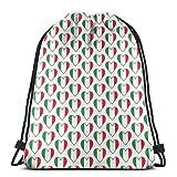 "Italian Flag Hearts Drawstring Shoulder Bags Gym Bag Travel Backpack Lightweight Gym for Men Women 16.9""x14"""