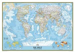 National Geographic Map World Classic, Political, laminiert, German Edition, Planokarte