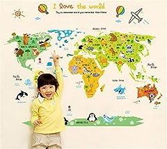 Idea Regalo - ufengke Mappa Del Mondo dei Cartoni Animati Simpatico Animale Adesivi Murali, Camera dei Bambini Vivai Adesivi da Parete Removibili/Stickers Murali/Decorazione Murale