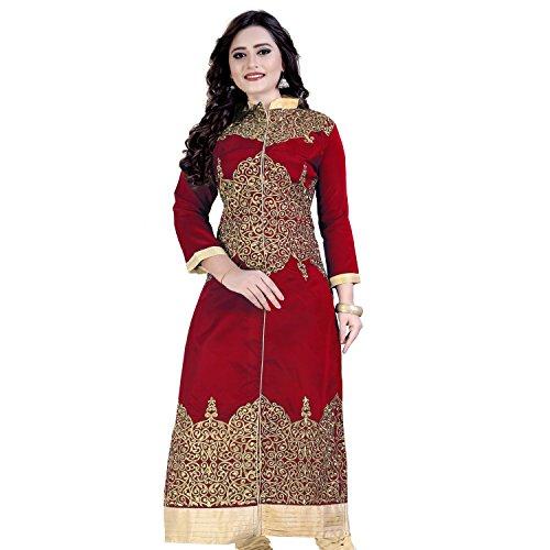 Siddeshwary Fab Women's Taffeta Silk A-Line Kurti(Red_Free Size)