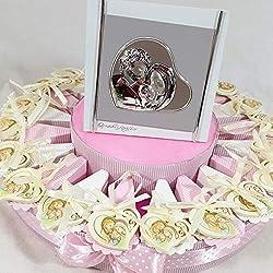 Sindy Bomboniere Torta bomboniere Sacra Famiglia con Centrale e Confetti, Rosa, 20 fette