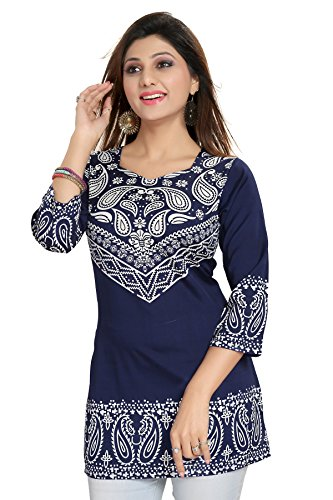 ALC Creations Women's Faux Crepe Printed Kurti(ALMISC511DRB1_Blue_38)