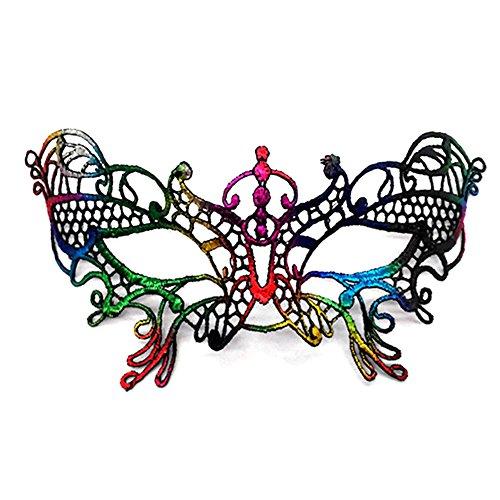 Vikenner Frauen Spitze Maske Masquerade Ball Maske Halloween Venezianische Faschingsmasken für Tanzabend Karneval Party Multicolor-Schmetterling