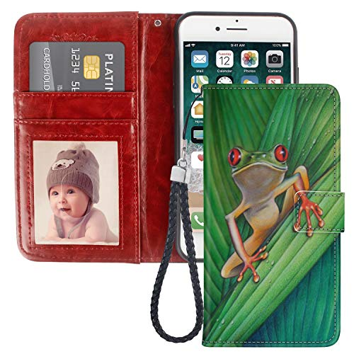 Naikuyi iPhone 7 Plus iPhone 8 Plus Wallet Case Frog Leaf Card Holder Slots Wrist Strap Faux Leather Kickstand Magnetic Closure Phone Cover for iPhone 7Plus iPhone 8Plus
