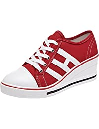 4f1ce58115e1 Mauea Basket Toile Compensee Femme Lacets Sneakers Montante Chaussures  Décontractées Tennis Mode Confort Grande Taille 40