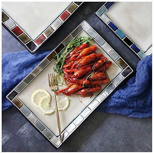 Stil Keramik Platte Handbemalt Westlichen Lebensmittel Teller Rechteckige Platte Große Fischplatte Haushalts Teller Sushi Quadratische Platte Kreative Plaid Platte Grillgericht Geg ()