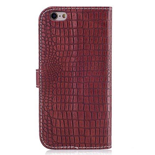 Trumpshop Smartphone Case Coque Housse Etui de Protection pour Apple iPhone 6 Plus / iPhone 6s Plus (5.5-Pouce) [Noir] Motif Peau de Crocodile PU Cuir Fonction Support Anti-Chocs Vin Rouge