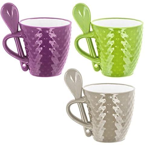 Promobo - Lot 3 Mugs Tasses à Café Cuillère Senseo Conique Relief