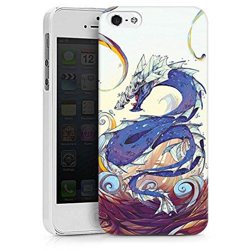 Apple iPhone X Silikon Hülle Case Schutzhülle Drache Wasser Fantasie Hard Case weiß