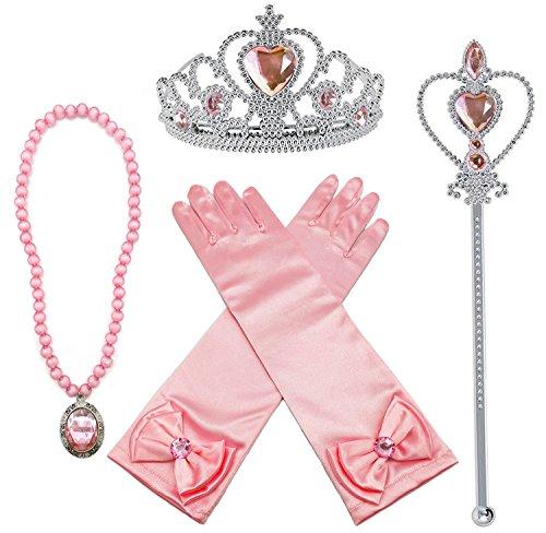 kleiden Sich Aurora Rosa 4 Stück Geschenk-Set Diadem,Handschuhe,Zauberstab,Halskette ()