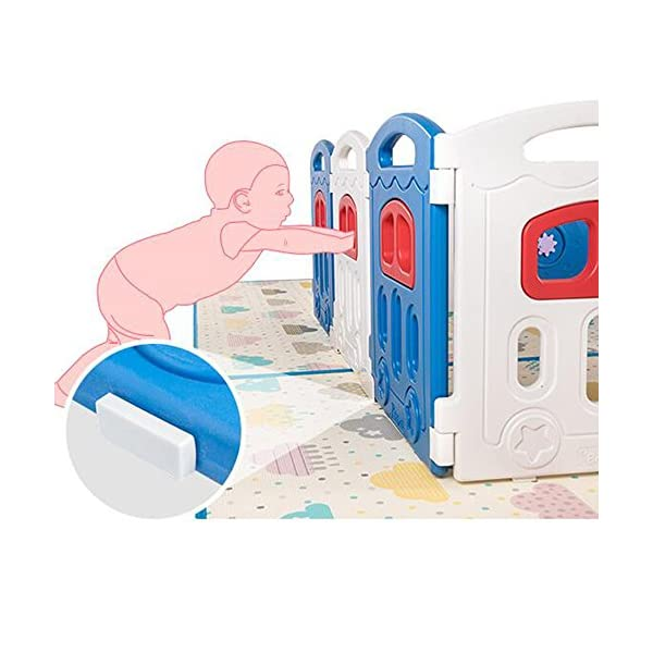 MEI XU Indoor Baby Playpens Safety Fence,Safety Indoor Fence Children's Play Fence Infant Crawling Toddler Guardrail Toy (Size : 196.5 * 238cm) MEI XU COVERS A LARGE AREA: It is a great amount of space for baby to learn walk and even laying with baby in it for play time. EASY TO ASSEMBLE: It is lightweight, easy to put together and take down, without 15 mins. SAY NO TO ANIMAL PEN: Bright and colorful design make the fence look more lovely in order to attract children and energize their mood automatically. 3