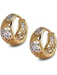 Blue Diamond Club - 24ct Gold Filled Womens Textured Hoop Earrings 25mm 2pEOZCJu2