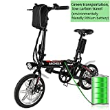 E-Bike Mountainbike, 14 Zoll Folding Elektro-Fahrrad 36V 250W Lithium-Ionen-Akku E-MTB E-Bike Pedelec Citybike Anti-Shock Unisex Fahrrad (Schwarz)