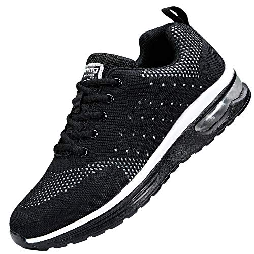 adituob Damen Leichte Laufschuhe Air Cushion Running Schuhe Atmungsaktives Gehen Fitness Sportlich Turnschuhe Schwarz37