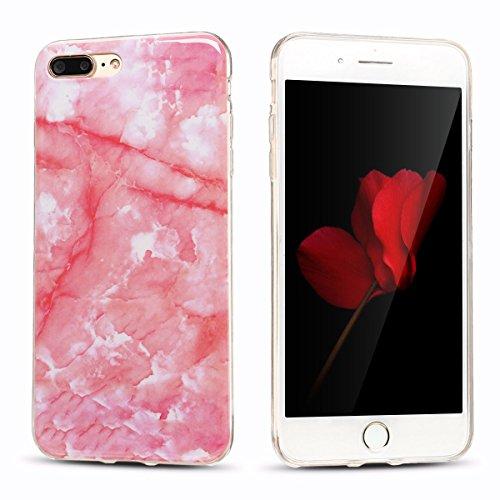 iphone 7 plus Hülle, Marmor Design Muster TPU Dünn Silikon Schutzhülle für iphone 7 plus , E-lush Kristallklar Durchsichtig Kratzfeste Handyhülle Ultra Chic Thin Weich Schutzhülle Rückschale Etui Bump Dunkelrosa
