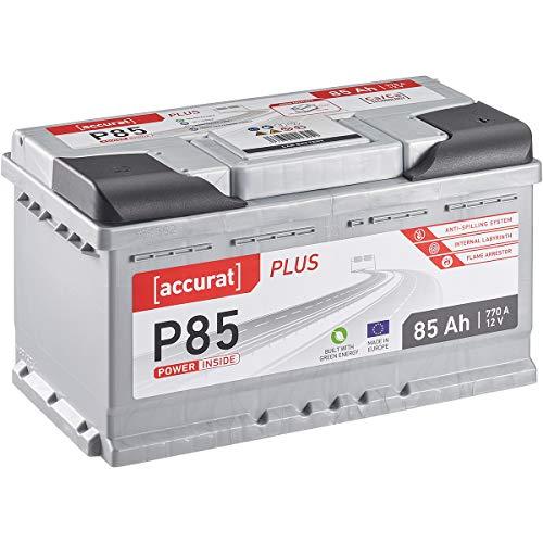Accurat 85Ah 770A 12V Autobatterie Plus-Serie Starterbatterie Nass Batterie einsatzbereit (wartungsfrei)