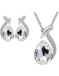 Mujers Pendientes Collar,Xinan Crystal Plateado Plata Collars de Cadena Conjunto de Joyas