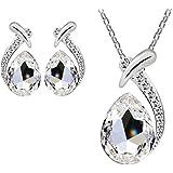 Mujers Pendientes Collar,Xinan Crystal Plateado Plata Collars de Cadena Conjunto de Joyas (Blanco)