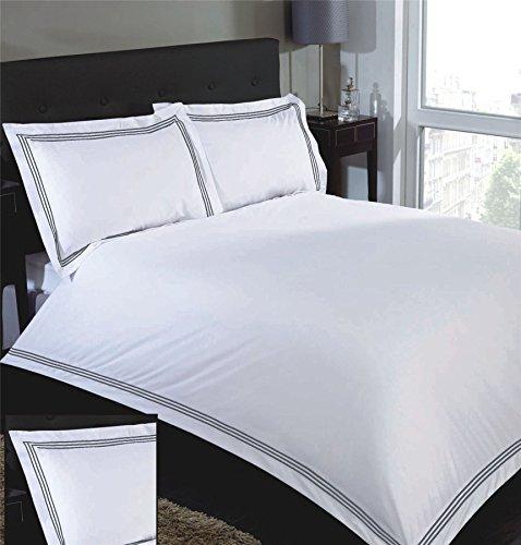 Bestickt Streifen Weiß Grau Baumwollmischung einzeln ( Plain Weiß passendes Leintuch - 91 x 191cm + 25) 3 Stück Bettwäsche Set