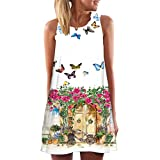 JUTOO Vintage Boho Frauen Sommer Sleeveless Strand Printed Short Mini Dress(Weiß -4, EU:40/CN:L)