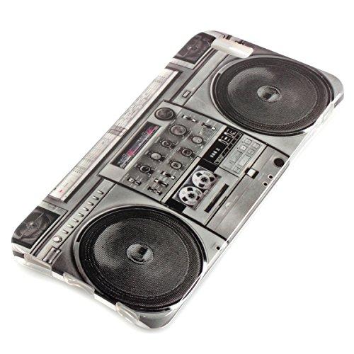 """deinPhone Apple iPhone 6 6S Plus (5.5"""") KUNSTLEDER FLIP CASE Hülle Tasche Eulen Happy Family Ghettoblaster"""