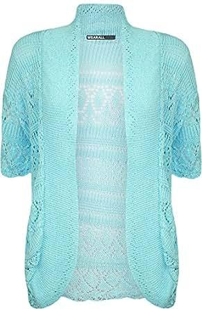 WearAll - Grande taille crochet tricoté bolero gilet top à manches courts - Aqua - 48-50