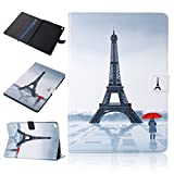 """iPad 2017 9.7 inch Case,Careynoce Flower Butterfly Dreamcatcher PU Leather Flip Wallet Protective Case Cover with Stand Function for Apple iPad 2017 (9.7"""") + Screen Protector and Stylus Pen -- Eiffel Tower"""