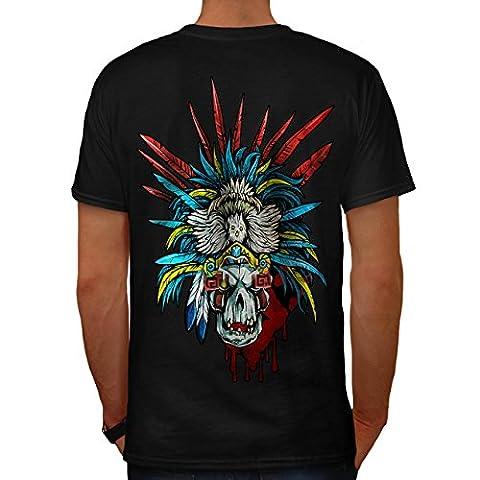 indisch Metall Maske Schädel Kostüm Herren M T-shirt Zurück   Wellcoda (Clown Kostüme Ziel)