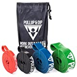 Pullup & Dip hochwertige Fitnessbänder / Widerstandsband inkl. praktischer Tasche – Klimmzug-Band / Resistance-Band als Widerstand und Unterstützung für Klimmzughilfe, verschiedene Stärken (3er-Set (LIGHT + MEDIUM + STRONG))