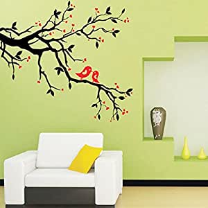 ... Asmi Collection Pvc Wall Stickers Black Tree Branches Orange Birds  JM7051 Part 75