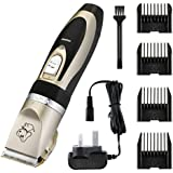 Electric Pet Grooming Clippers, OMorc Rechargeable Cordless Pet Hair Shaver, Grooming Trimmer Kit, with Low Noise Low Vibration, Cordless Pet Fur