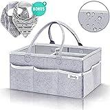 BearbyTM Baby Diaper Nappy Caddy Organiser - Waterproof, Portable, Grey Felt Storage - UK Brand