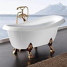 Freistehende Badewanne Nostalgie Wanne Design Standbadewanne 170 x 75 cm Weiß gold inkl. Armatur