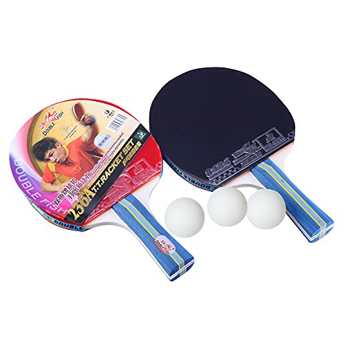 2 Pack - Double Fish Tischtennisschläger Set mit 3 Ping Pong Bälle und Tragetasche, Tischtennisschläger (D-2)
